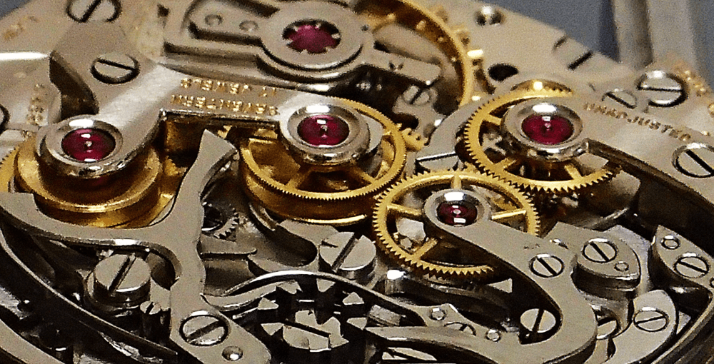Close up of jewels inside a watch